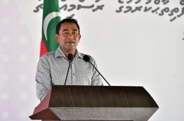 President Yameen speaks after inaugurating a new sewage system in Haa Alif Atoll Hoarafushi last month. PHOTO/PRESIDENT'S OFFICE