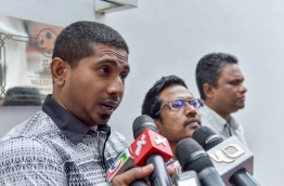 Opposition aligned lawmaker Ahmed Mahloof speaking to reporters. MIHAARU FILE PHOTO/NISHAN ALI