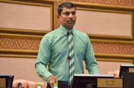 Vilufushi MP Riyaz Rasheed pictured during the parliament sitting on Monday. PHOTO/PARLIAMENT SECRETARIAT