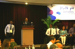 Chief Justice Abdulla Saeed speaks during the inauguration of the national legal aid conference on Wednesday. PHOTO/UNDP