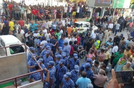 Police impede an opposition gathering held late last month. PHOTO/MDP