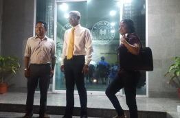 Hinnavaru MP Ibrahim Mohamed Solih (C) pictured after being questioned by police on Wednesday. MIHAARU PHOTO