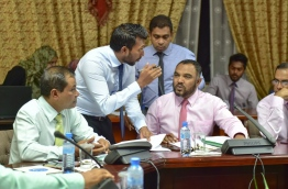 Some member of the parliamentary committee reviewing the defamation bill pictured during the sit-down on Monday. MIHAARU PHOTO/MOHAMED SHARUHAAN