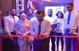 Tourism minister Moosa Zameer inaugurates the Hotel Asia Exhibition 2016. PHOTO: MOHAMED SHARUHAAN/MIHAARU