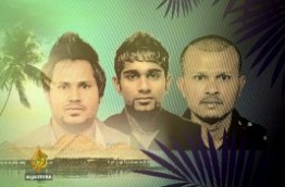 """A screeen grab of the Al Jazeera documentary """"Stealing Paradise' showsFormer aides of former VP Adheeb who are now wanted by interpol in connection to terrorism and money laundering."""