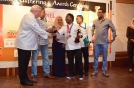 Ahmed Fatheen awarded best local chef of Hotel Asia Exhibition 2016's International Culinary Challenge at the awarding ceremony held in Hulhule Island Hotel. PHOTO: MOHAMED SHARUHAAN/MIHAARU
