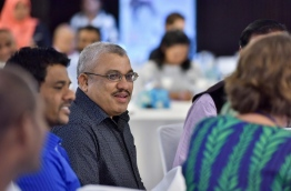 "Vice president Jihad smiles during the ""High Level Advocacy Forum on Tobacco Control in the Maldives"" on Tuesday. MIHAARU PHOTO/NISHAN ALI"
