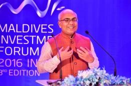 Akhilesh Mishra, the Indian Ambassador to the Maldives, speaks at the inauguration ceremony of Maldives Investment Forum 2016. PHOTO: NISHAN ALI/MIHAARU
