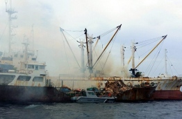 The vessel which caught fire on Wednesday. PHOTO/MNDF