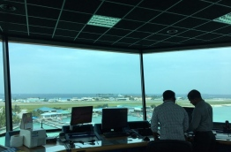 Air Traffic Controllers pictured at the control tower in Ibrahim Nasir International Airport. MIHAARU PHOTO/AMINATH SHIFLEEN
