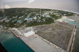Aerial view of H.Dh. Kulhudhuffushi island; a part of the island is to be reclaimed for the development of a domestic airport.