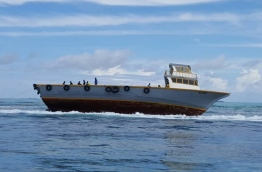 The boat carrying cargo from B. Dharavandhoo to Male that ran aground at Hanifaru Bay reef. PHOTO/BIOSPHERE RESERVE OFFICE