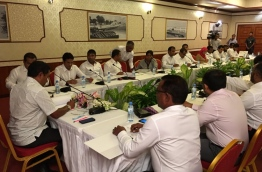President Yameen chairs PPM's Council Meeting held at Dharubaaruge | Twitter photo: MP Ahmed Nihan