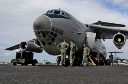 An aircraft of the Indian Air Force that arrived in the Maldives on November 3, 1988 to halt the coup d'état.