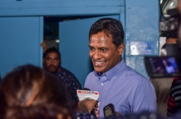 Former home minister Umar Naseer pictured speaking to reporters. MIHAARU FILE PHOTO
