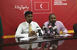 Mohamed Shifaz (L) and Ali Zahir pictured during the joint press conference held by MDP and Adhaalath Party (AP) on Tuesday. MIHAARU PHOTO/FAZEENA AHMED