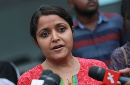 Yumna Maumoon speaking to reporters. FILE PHOTO: MOHAMED SHARUHAAN/MIHAARU