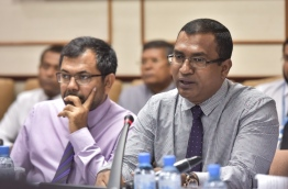 President's Office's minister and chair of its Economic Council, Ahmed Zuhoor speaks at budget review committee meeting at the parliament. PHOTO: NISHAN ALI/MIHAARU