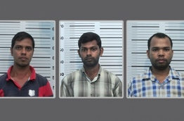 The three Bangladeshi men sentenced to ten years in jail for human trafficking in the Maldives. PHOTO/POLICE