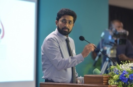 Home Minister Azleen Ahmed speaks at ceremony to mark International Human Rights Day. PHOTO: MOHAMED SHARUHAAN/MIHAARU