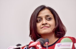 A file photo shows foreign minister Dhunya Maumoon at a press conference. MIHAARU PHOTO