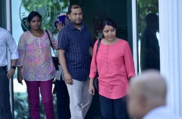 Yumna Maumoon after giving her statement at Police headquarters. PHOTO:Nishan Ali/Mihaaru