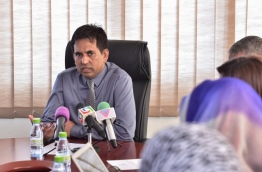 Economic Minister Mohamed Saeed speaks at Trade Facilitation Committee meeting. PHOTO: NISHAN ALI/MIHAARU