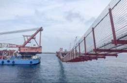 The temporary over-water crossing linking the two platforms of the China-Maldives Friendship Bridge. PHOTO: HUSSAIN WAHEED/MIHAARU