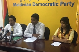 MDP secretary general Anas (C) flanked by lawmakers Rozaina Adam (R) and Imthiyaz Fahmy during a press conference. MIHAARU PHOTO