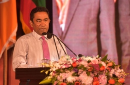 President Yameen speaking at the introductory ceremony of MDA candidates of Local Council Elections PHOTO:Hussain Waheed/Mihaaru