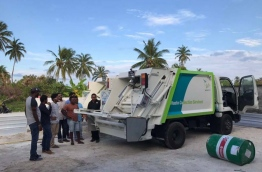 A vehicle taken to Addu for waste collection