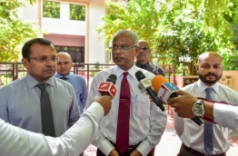 Opposition lawmakers speaking to press after Parliament sitting last Monday. PHOTO:Nishan Ali/Mihaaru