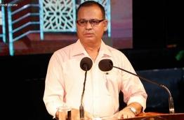 Defence Minister Adam Shareef speaks at MNDF's 125th anniversary celebration.