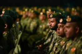 MNDF soldiers attend MNDF's 125th anniversary celebration.