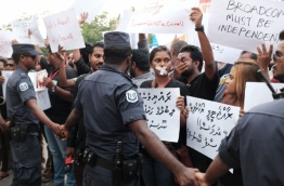 Reporters and journalists at a protest against the persecution of media and press in 2016. PHOTO/MIHAARU