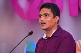 PG Group Leader of PPM Ahmed Nihan speaking at the rally PHOTO:Hussain Waheed/Mihaaru