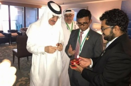 Finance Minister Munawar (C) meets with a senior official of IDB during the bank's annual meeting in Jeddah, Saudi Arabia in May 2017. PHOTO/FINANCE MINISTRY