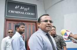 MP Abdulla Riyaz in front of the Criminal Court ahead of his sentence hearing