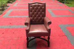 Parliament speaker's chair placed outside the chambers.
