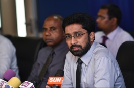 Home Minister Azleen Ahmed speaks at press conference. PHOTO: HUSSAIN WAHEED/MIHAARU
