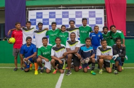 Retired french defender Marsel Desailly with Jumeirah Vittaveli staffs after the futsal match.