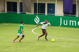 Retired French defender Marsel Desailly enjoys a game of futsal with the staffs of Jumeirah Vittaveli resorts. Photo/Jumeirah Vittaveli