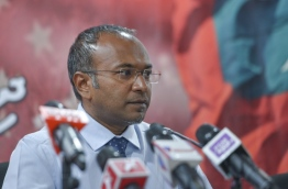 MDP chairperson Hassan Latheef speaks at press conference. PHOTO/MIHAARU