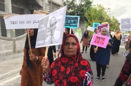 Protestors in G.A. Villingili calling for the immediate release of the detained MPs. PHOTO / SOCIAL MEDIA