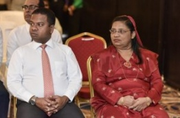 Current Maldivian Ambassador to Sri Lanka Zahiya Zareer (R) and Maldivian Ambassador to Japan Mohamed Hussain Shareef.