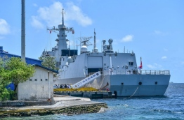 A frigate of the Chinese navy docked at Male. PHOTO: HUSSAIN WAHEED/MIHAARU