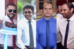 The four 'expelled' MPs: (from left) MP Ameeth, MP Waheed, MP Abdul Latheef and MP Saud