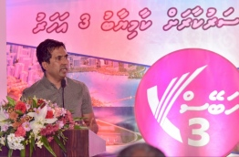Economic Minister Mohamed Saeed speaks at a PPM rally. PHOTO/MIHAARU
