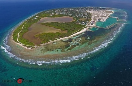 Aerial view of HDh. Kulhudhuffushi, which shows the large mangrove swamp of the island. PHOTO/EYEWELL PORTRAIT
