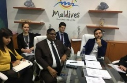 Attorney General Mohamed Anil speaks at press conference at the World Travel Market (WTM) 2017 in London, UK. PHOTO: ABDULLA JAMEEL/MIHAARU